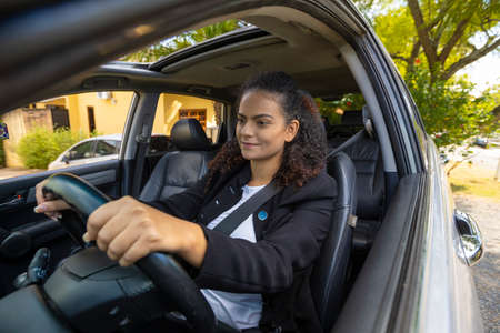 Woman driving unprotected conduction during coronavirus quarantine