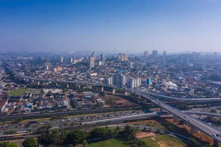 Aerial view of Avenida Radial Leste with Basilica of Nossa Senhora da Penha in the background, Sao Paulo, Brazil