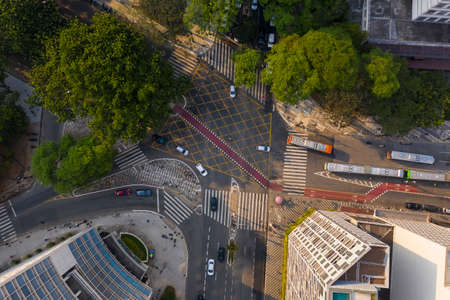 intersection in downtown Sao Paulo, seen from above, Brazil Imagens
