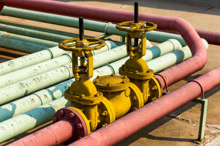 colorful industrial pipelines and valves