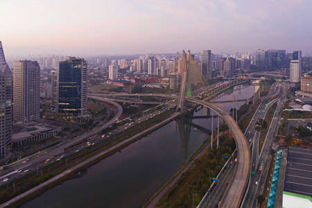 cable-stayed bridge over the Pinheiros River, sunrise in São Paulo, Brazil
