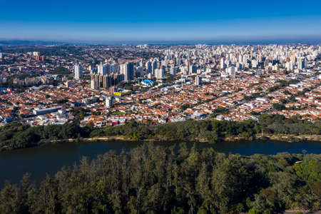 Taquaral lagoon in Campinas at dawn, view from above, Portugal park, Sao Paulo, Brazil,