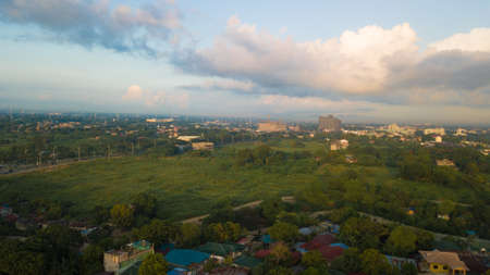 Sunrise Aerial Shot West of Dasmari�as Cavite Philippines Showing the Urban area
