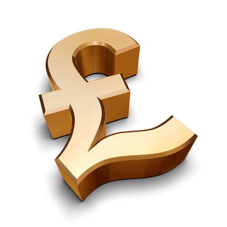 Un symbole d'or Livre Sterling isolé sur un fond blanc (rendu 3D)