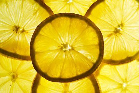 バックライト半透明レモン スライス 写真素材