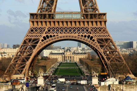 Closeup view on the first floor of the Eiffel tower - Paris, France Stock Photo - 366478