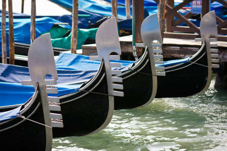 Prows of gondolas moored by Saint Mark square - Venice, Venezia, Italy, Europe Stock Photo - 12730276