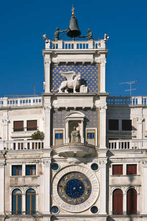 torre: The Clock Tower with astronomical clock (15th century) at Saint Marks square - Venice, Venezia, Italy, Europe