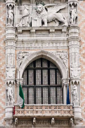 doges: Architecture detail of Doges Palace main window - Venice, Venezia, Italy, Europe