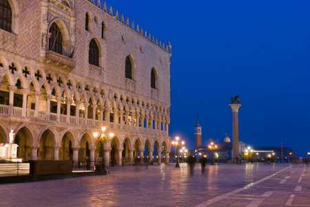 Palazzo Ducale (Doges Palace) at dusk - Venice, Venezia, Italy, Europe Stock Photo - 12734175