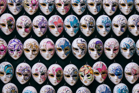 venezia: Decorative miniature venetian carnival masks - Venice, Venezia, Italy, Europe Editorial