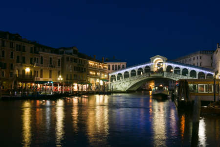 venice bridge: Ponte di Rialto bridge at dusk - Venice, Venezia, Italy, Europe