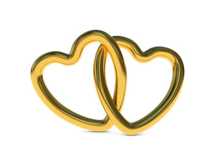 intertwined: Two intertwined gold heart rings  3D render