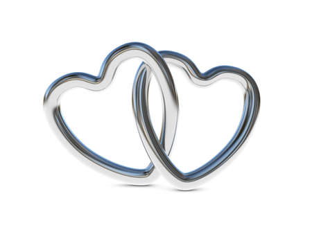 interlocked: Two intertwined silver heart rings  3D render