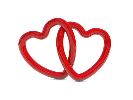 interlocked: Two intertwined red heart rings  3D render
