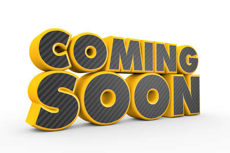 coming: 3D yellow grey Coming Soon text on white Stock Photo