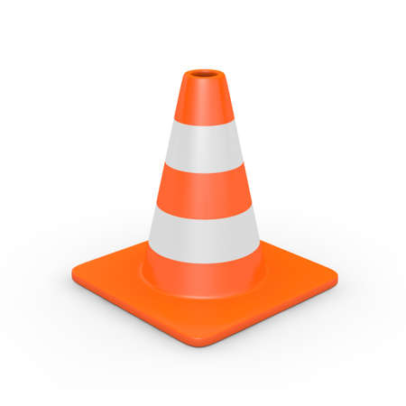 traffic cone: A traffic cone isolated on white  3D render