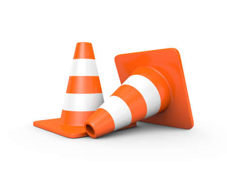under construction road sign: Two traffic cones isolated on white  3D render