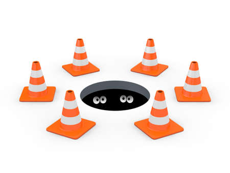 Open manhole blocked off with traffic cones, with two pairs of cartoon eyes inside  3D render