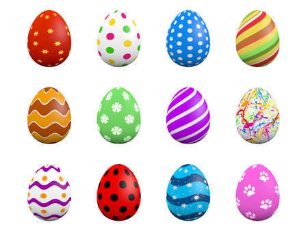 Set of twelve easter eggs isolated on white  3D render  Stock Photo