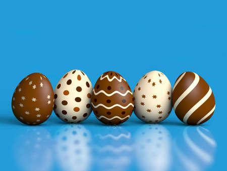 oeufs en chocolat: Chocolat oeufs de P�ques sur fond bleu avec la r�flexion et l'espace de copie 3D render