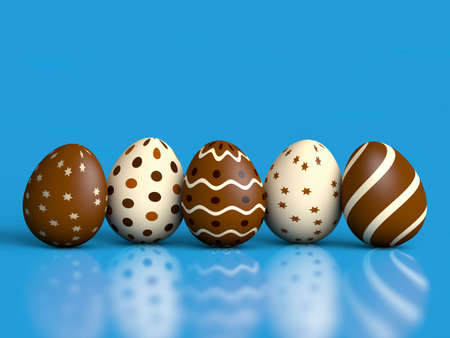 Chocolate easter eggs on blue with reflection and copy space  3D render