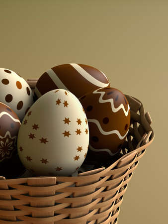 Chocolate easter eggs in a basket 3D render