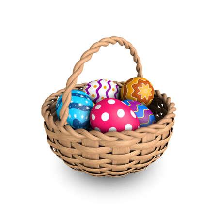 easter basket: Decorated easter eggs in a basket (3D render)