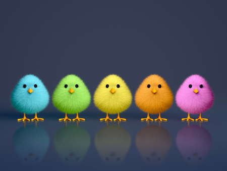 Fluffy colorful chicks on a dark reflective background with copy space  3D render