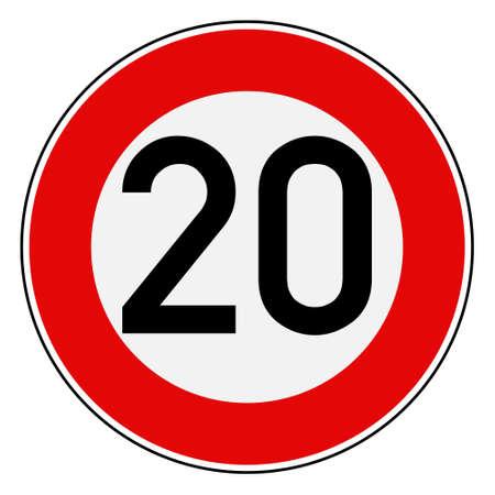 Speed limit 20  イラスト・ベクター素材