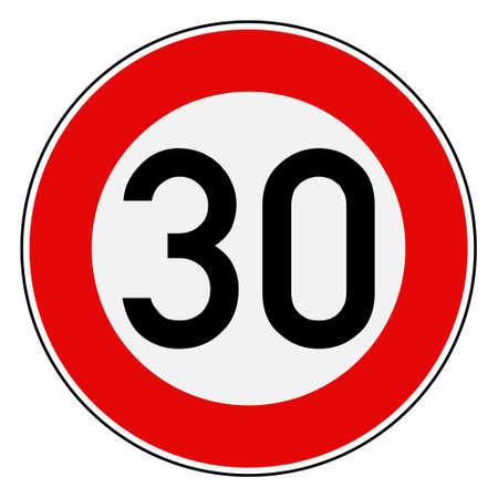 Speed limit 30  イラスト・ベクター素材