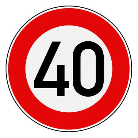 Speed limit 40 스톡 콘텐츠 - 129468105