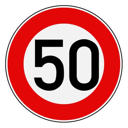 Geschwindigkeitsbegrenzung 50 Vektorgrafik