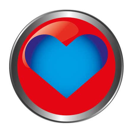 Red button with blue heart Illusztráció