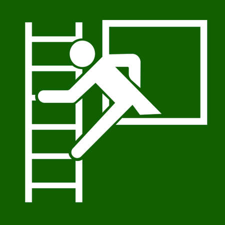 Emergency exit window ladder sign symbol vector green white