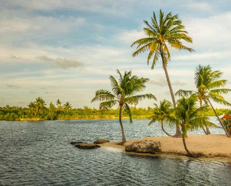 Man made sandy beach island at Camana Bay by the Caribbean sea,Grand Cayman