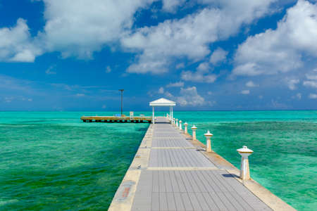 Rum Point pier by the Caribbean sea, Grand Cayman