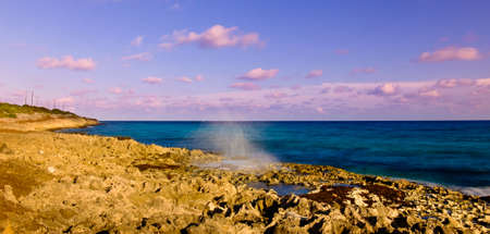 Blowhole by the Caribbean Sea in the East End area, Grand Cayman