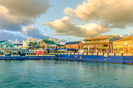 George Town, Grand Cayman, Cayman Islands, Nov 2017, view of Harbour Drive from the Caribbean Sea