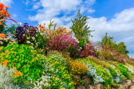 Rockery in St-Fraimbault in summer, Orne, Normandy France Stock Photo
