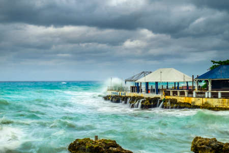 Storm over the Caribbean Sea, George Town, Grand Cayman, Cayman Islands, Dec 2017 Stock Photo