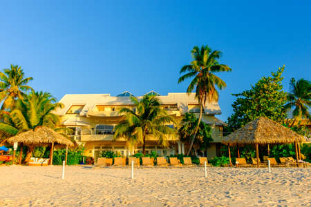 Grand Cayman, Cayman Islands, Dec 2016, Seascape Villa on Seven Mile Beach, one of the house to rent on the beach. Editorial