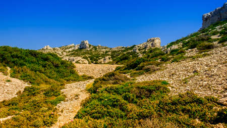 Marseilleveyre mountain range in the Calanques National Park of Marseilles, France