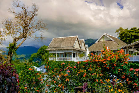 Kingstown hill, Jamaica, Dec 2018, Strawberry Hill Hotel Caribbean-style building in the Blue Mountains Zdjęcie Seryjne
