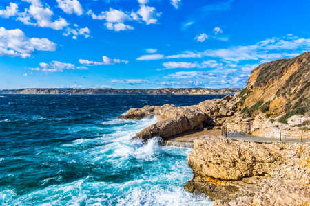 View of Marseille coastline from the Pointe Cadiere