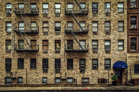 New York City, USA, May 2019, residential building in the 49th Street in Hell's Kitchen, Manhattan