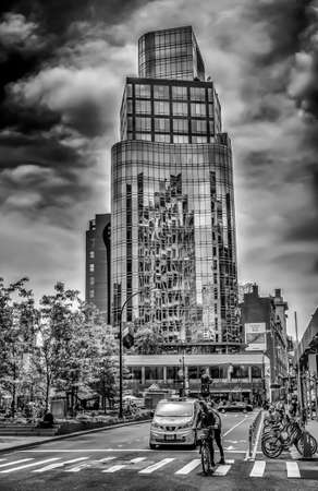 New York City, USA, May 2018, modern building at Astor Place, Manhattan 報道画像