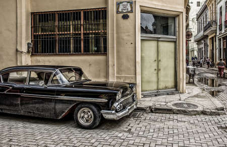 Havana, Cuba, July 2019, black 1958 Chevrolet Bel Air parked in a paved street of the capital Editorial