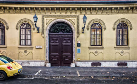 Budapest, Hungary, Aug 2019, view of the facade of the Jokai Anna Szalon an art salon in a neo-Renaissance building
