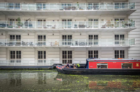 London, U.K, Aug 2019, view of a barge from The Pirate Castle charity on the Regents Canal in Camden Town